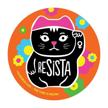 ReSISTA Kat Orange Round Sticker