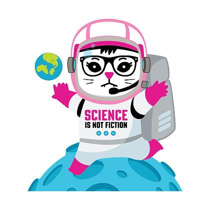 Science Space Kat Die-Cut Sticker