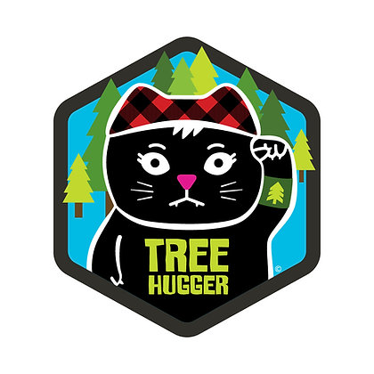 Tree Hugger Hex Die-Cut Sticker