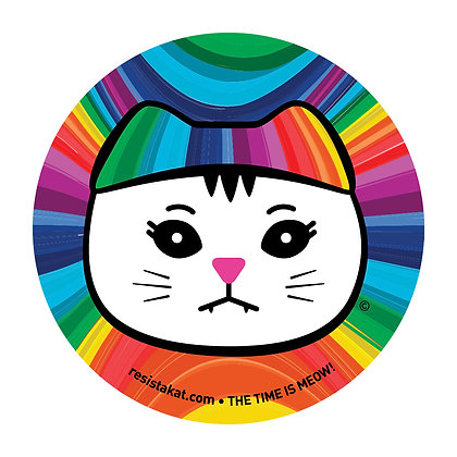 Rainbow White Kat Round Sticker