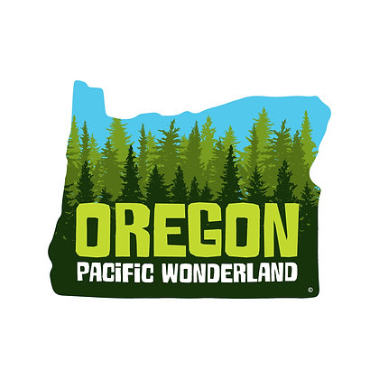 Pacific Wonderland Green Die-Cut Sticker