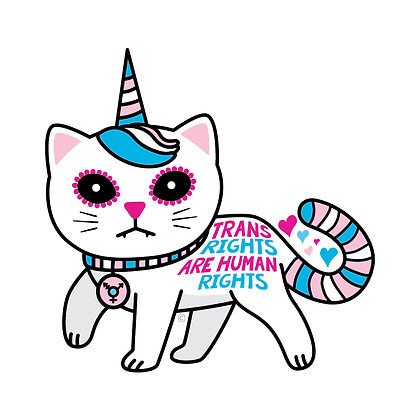 Trans Rights Unicorn Kitty Die-Cut Sticker
