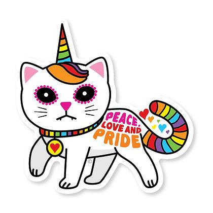 Peace Love Pride Rainbow Unicorn Kitty Die-Cut Sticker