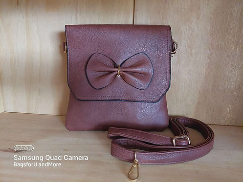 Zeidi Bow CrossBody Bag - RED brown