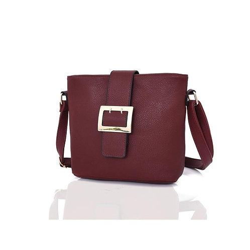 Janella Square Buckle Crossbody Bag in Burgundy
