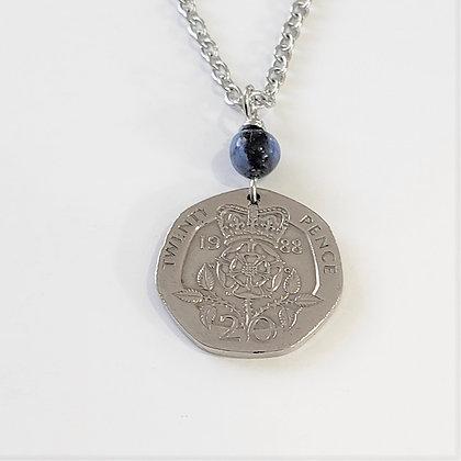 British Tudor Rose Coin w/Dumortierite Necklace 1305