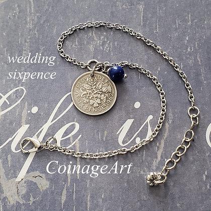 Wedding Sixpence Anklet w/Blue Lapis Lazuli 1000