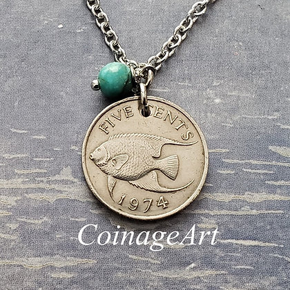 1974 Bermuda fish Coin Necklace, Turquoise 941
