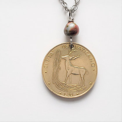 Vatican 1972 Coin w/Bloodstone Necklace 1308