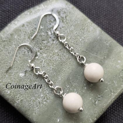 Irish Ulster White Marble Earrings 5020
