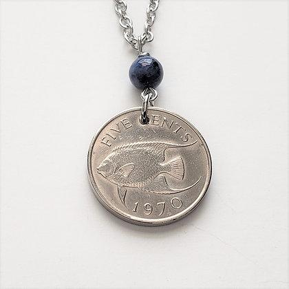 Bermuda Coin Necklace w/Dumortierite 5067