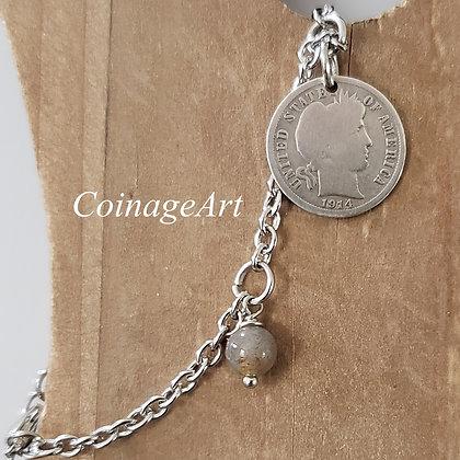 1914 Silver Barber Dime Bracelet w/Agate 1074