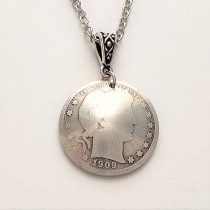 1909 Silver Barber Quarter Necklace w/Sodalite 1053
