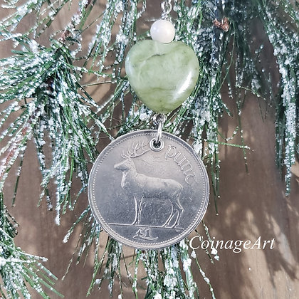 Irish Deer Coin Ornament with Connemara Heart & Ulster Marble  5003