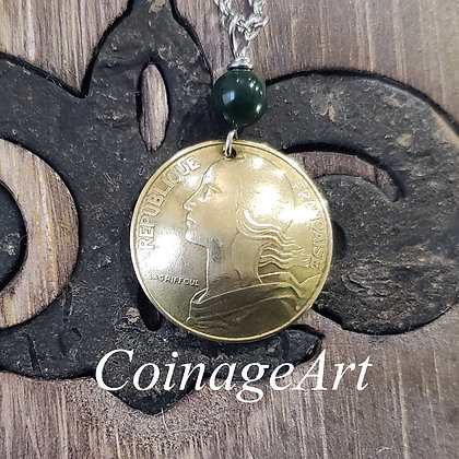 French Coin Necklace w/Blood Stone 5010