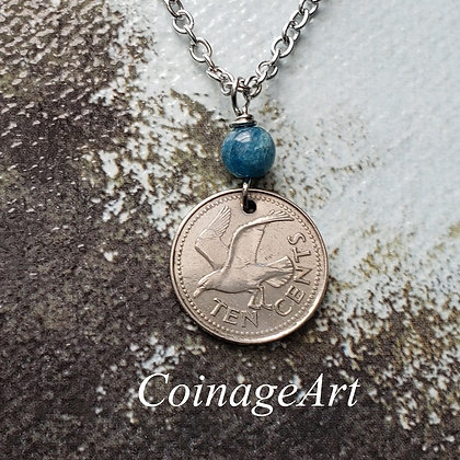 Barbados Seagull Coin Necklace w/Blue Apatite 5062