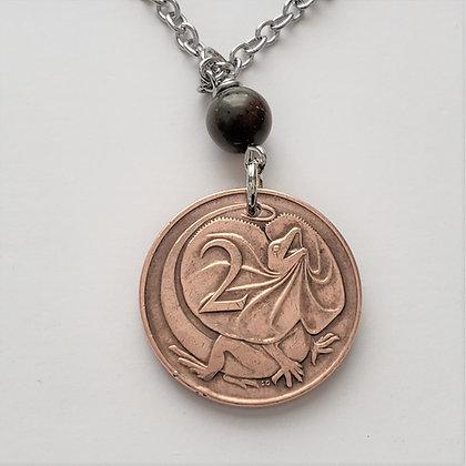 Australian Lizard Coin Necklace w/Opal 5077