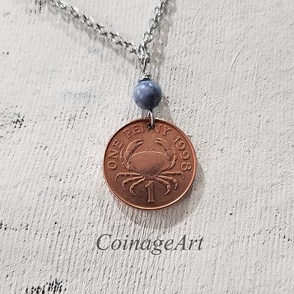 Guernsey Crab 1998 Coin Necklace w/Coral 1226