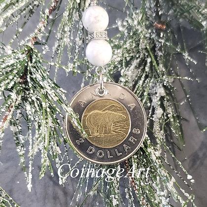 Canada Polar Bear Ornament w/Howlite 5005