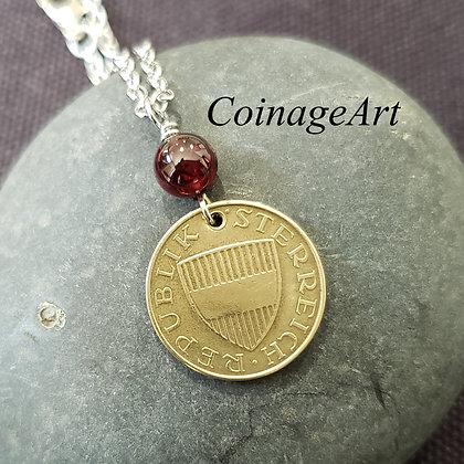 Austrian Coin Necklace w/Red Garnet 5069