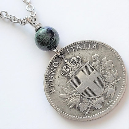 Italy 1918 Coin Necklace w/Chrysocolla 1322
