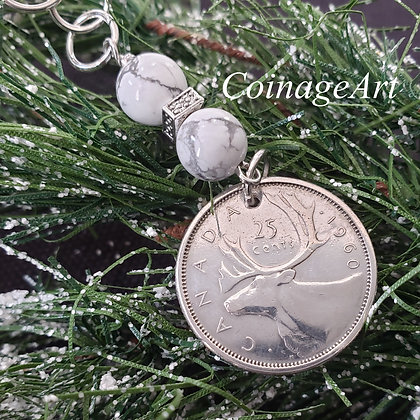 Canadian Deer Coin Ornament w/Howlite 5072