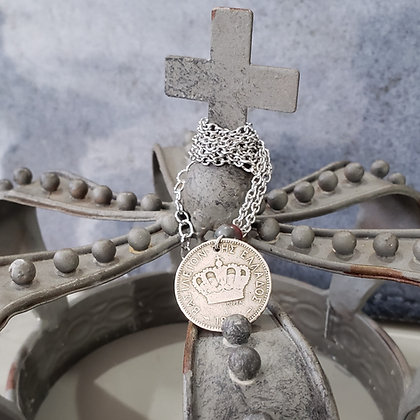 1894 Greek Coin Necklace w/Jasper 1220