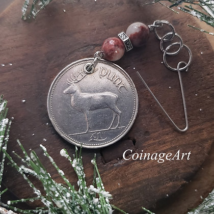Irish Deer Coin Ornament with Red Cork Marble 5002