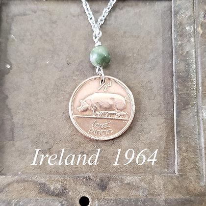 Irish Piglets Coin Necklace w/Connemara 1216