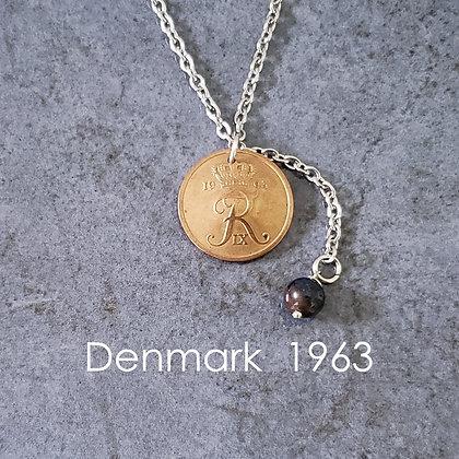 1963 Danish Coin Lariat w/Dumortierite 1073