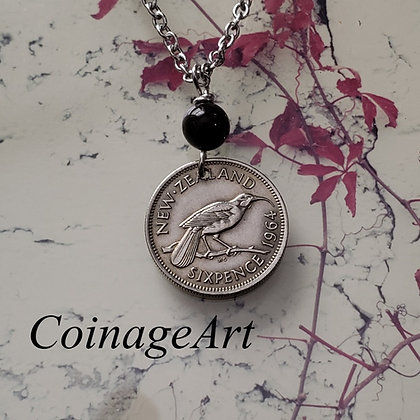 New Zealand Sixpence Necklace w/Agate 1277