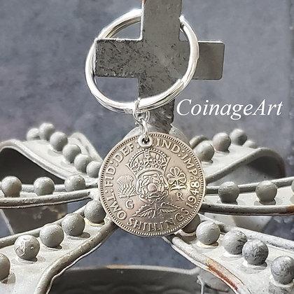 British Tudor Rose 1948 Coin Keychain 1249