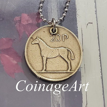 1988 Irish Celtic Coin Horse Necklace 832