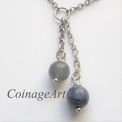Grey Labradorite & Blue Coral Necklace 5025