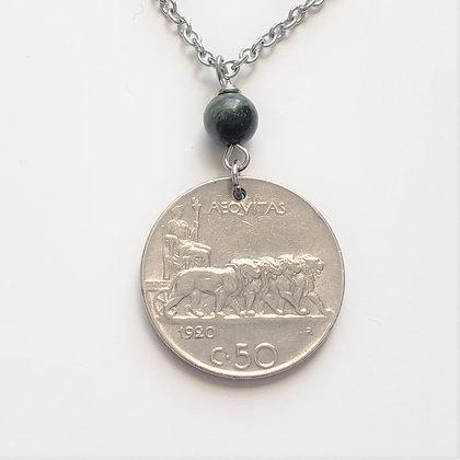 Italian Coin Necklace w/Jasper Stone 5030