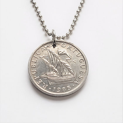1985 Portugal Sailboat Coin Necklace 1058