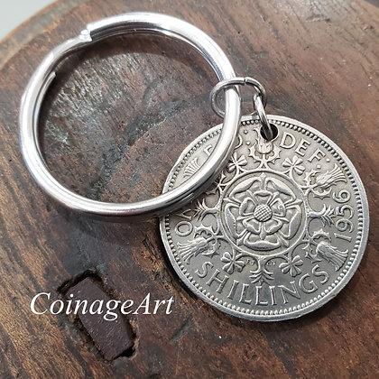 British 2 Shilling Tudor Rose Keychain 5071