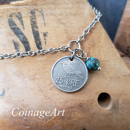 1973 Norway Bird Coin Anklet, Turquoise 641