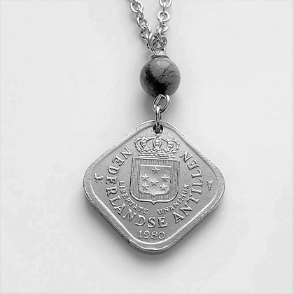 Netherlands 1980 Coin Necklace w/Opal 1264