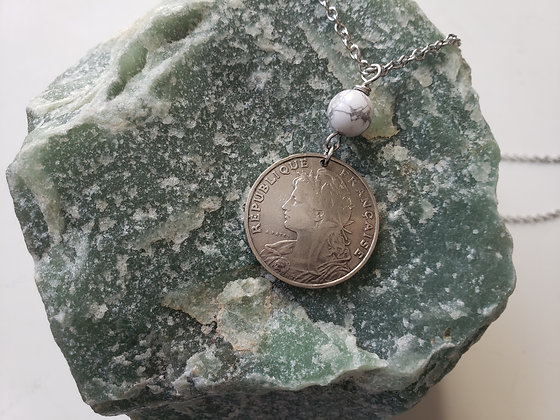 France Coin Necklace w/Howlite 5043