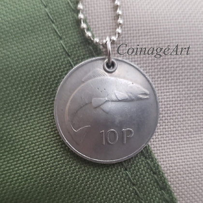 1978 Celtic Fish Coin Necklace, Harp 822