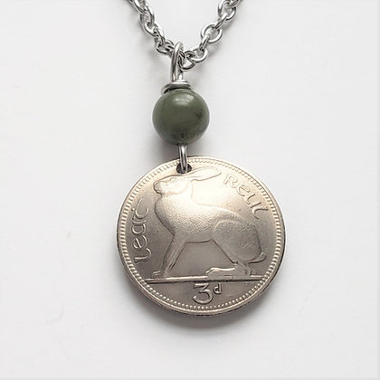 Irish Rabbit Coin Necklace w/ Connemara 2000