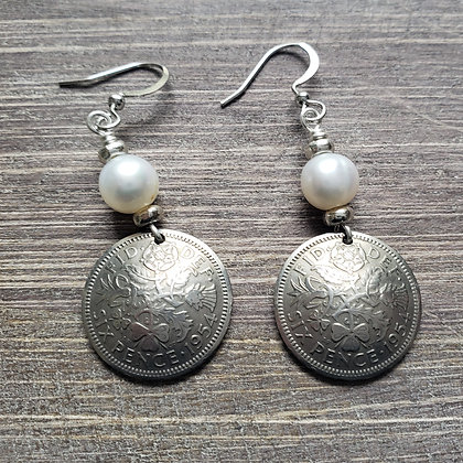 British Sixpence Earrings w/Pearls 5076