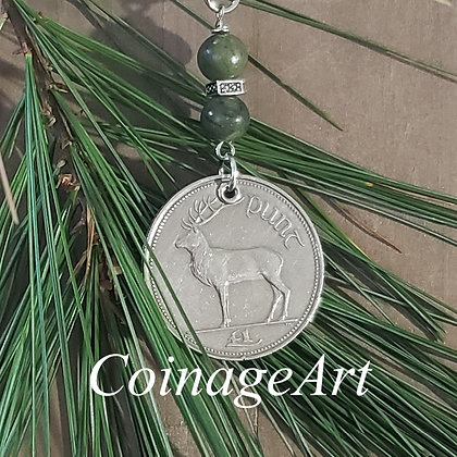 Irish Deer Coin Christmas Ornament with Connemara Marble 5001