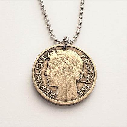 1932 French Marianne Coin Necklace 1076