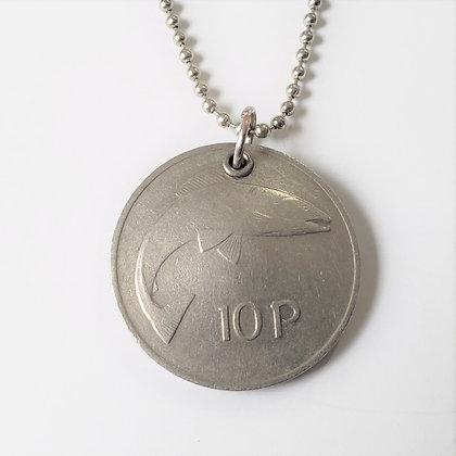 1980 Celtic Irish Fish Coin Necklace 821