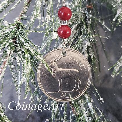 Irish Deer Coin Ornament with Red Jade Gemstones  5006
