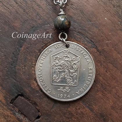 Czech Lion 1974 Coin Necklace w/Opal 1313