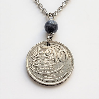 Turtle Coin Necklace w/Coral Stone 1283