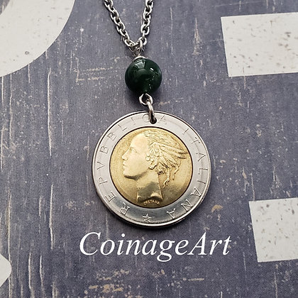 Italian Coin Necklace with Moss Agate Gemstone  5007